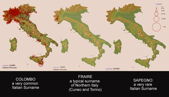Maps Showing Locations of Italian Surnames