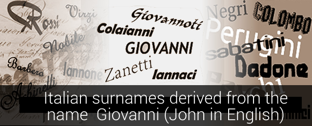 Italian surnames derived from the name Giovanni (John in English)