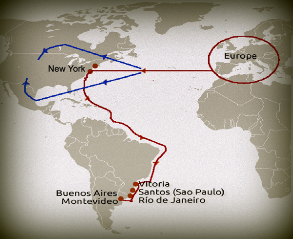 The immigration travel route